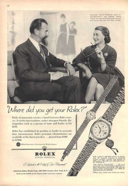 Rolex Ladys Orchid Mans Day Date Watches (1959)