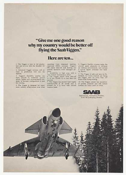 Saab Viggen Aircraft Ten Reasons Flying Photo (1973)