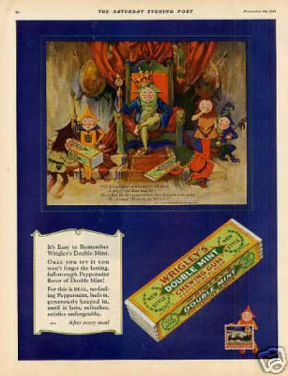 "Wrigley's Double Mint Chewing Gum Ad ""Old King... (1927)"