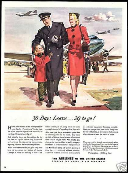 WWII Pilot Home Leave Art Airlines of US (1945)