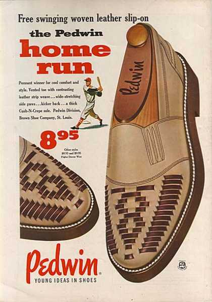 Pedwin's free swinging woven leather slip-ons (1955)