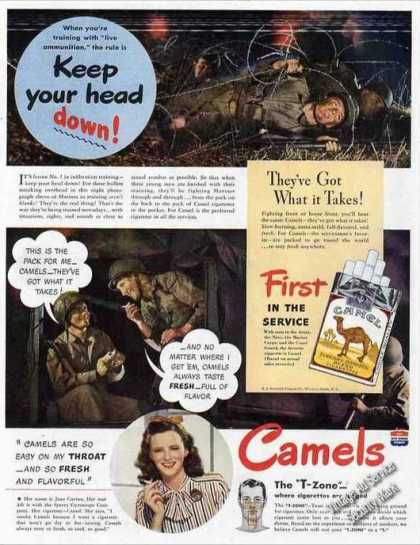 "Camel Cigarettes ""Keep Your Head Down!"" Wwii (1944)"