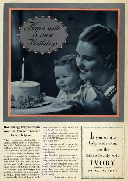 Procter & Gamble Co.'s Ivory Soap – Keep a smile in your Birthdays (1937)