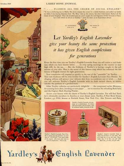 Yardley & Co., Ltd.'s Yardley's English Lavender – Let Yardley's English Lavender give your beauty the same protection it has given English complexions for generations (1929)