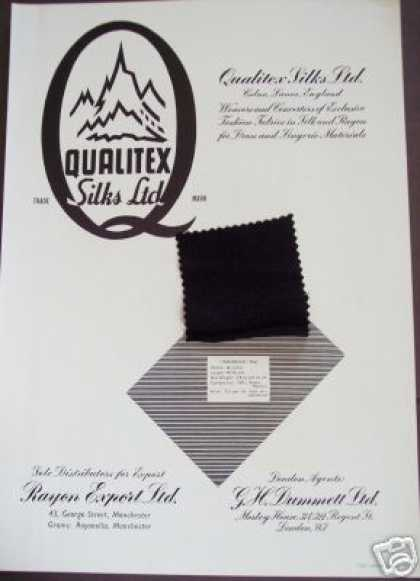 Qualitex Silks Ltd Textile Trade Ad W Sample (1949)