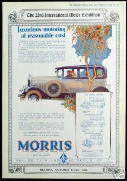 Morris Motors Six Car Color Print Vintage UK (1928)