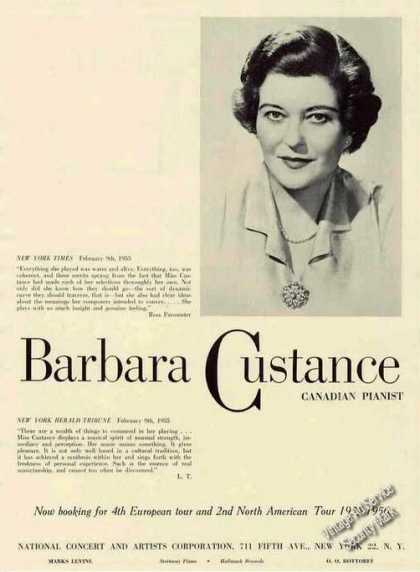 Barbara Custance Photo Canadian Pianist Trade (1955)
