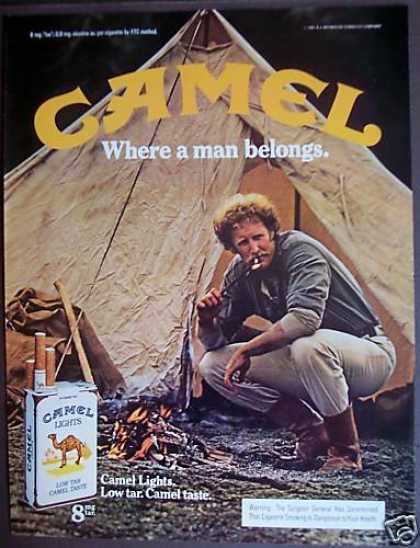 Man Smoking at Camp Site Camel Cigarettes (1981)