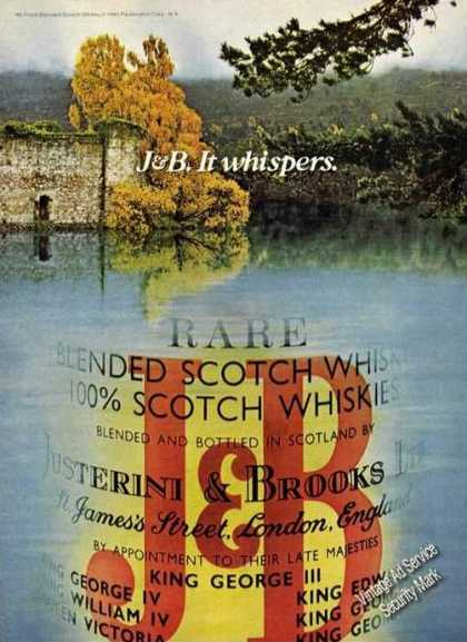 J&amp;b. It Whispers. Rare Scotch (1980)