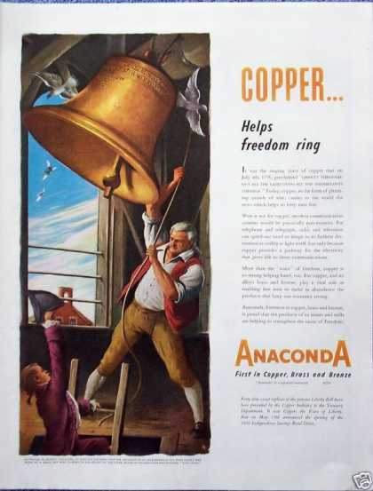 Anaconda Copper Liberty Bell Ring Independence (1950)