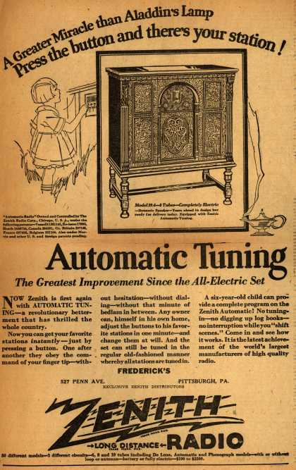 Zenith Radio's automatic tuning radio – Automatic Tuning: The Greatest Achievement Since the All-Electric Set (1928)