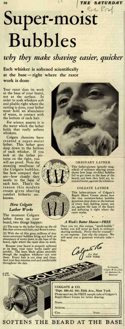 Colgate & Company's Colgate's Rapid-Shave Cream – Super-moist Bubbles (1927)