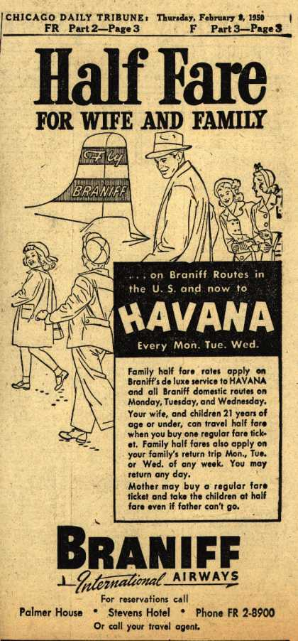 Braniff International Airway's Family half fare rates – Half Fare (1950)