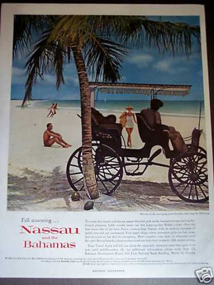 Carrage On Beach Photo Nassau Bahamas Travel (1961)