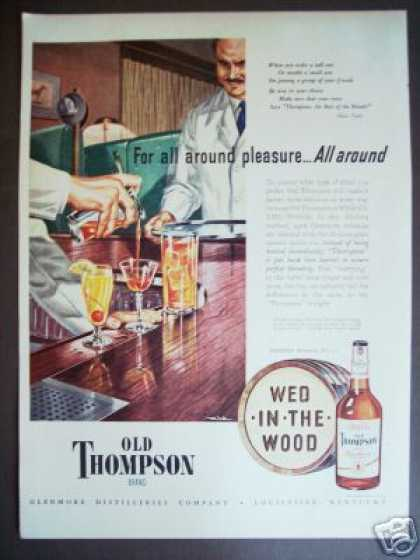 Bar Scene Art By Mink Old Thompson Whiskey (1947)