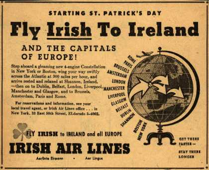 Irish Air Line's Ireland – Starting St. Patrick's Day Fly Irish To Ireland (1948)