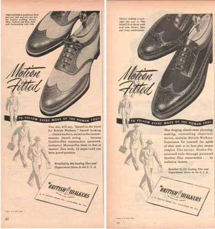 British Walkers Shoe Ads – Set of Two – Wing Tip (1948)