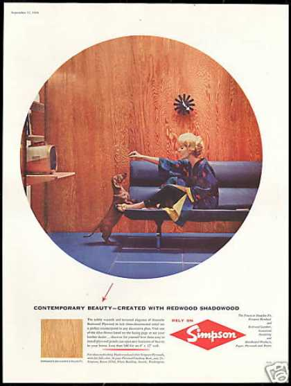 Cute Dachshund Dog Simpson Plywood Vintage (1958)