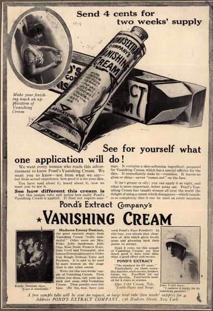Pond's Extract Co.'s Pond's Vanishing Cream – Send 4 cents for two weeks' supply. See for yourself what one application will do (1915)