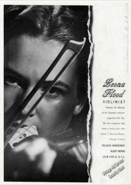 Leona Flood Photo Violinist Antique Booking (1944)