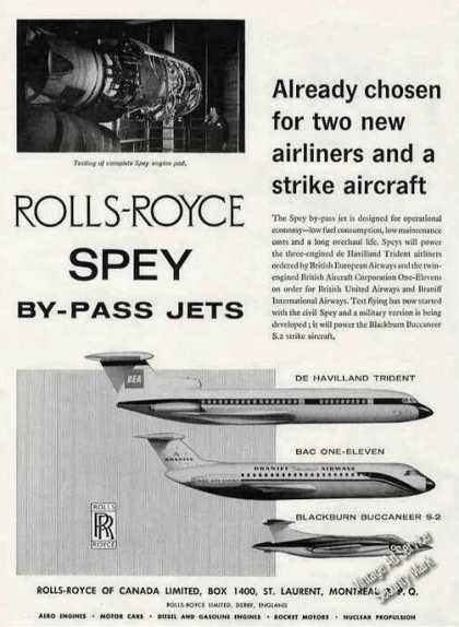 Rolls-royce Spey By-pass Jet Engines (1962)