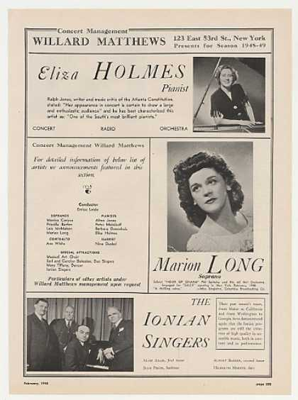 Eliza Holmes Marion Long Ionian Singers Photo (1948)