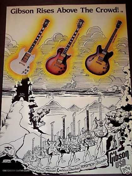 86 Gibson Guitars Sg Les Paul Es Above the Crowd Art