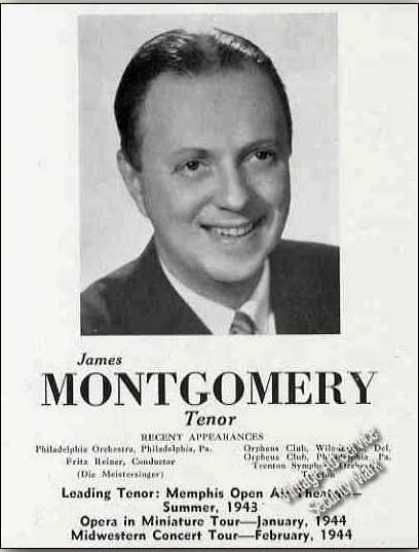 James Montgomery Photo Tenor Concert Opera (1944)