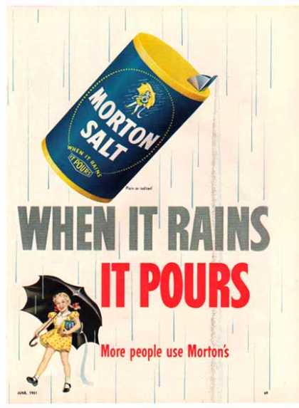 Morton Salt – When It Rains It Pours – Sold (1951)