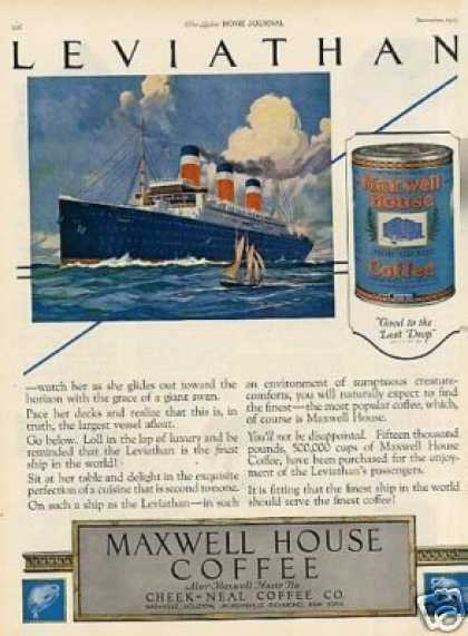 Maxwell House Coffee Ad Leviathan (1923)
