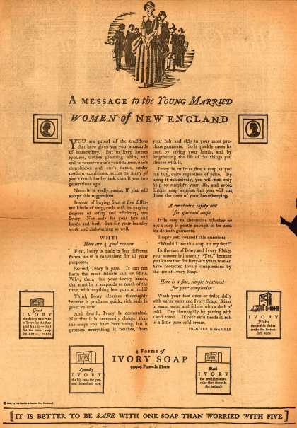 Procter & Gamble Co.'s Ivory Soap – A Message to the Young Married Women of New England (1925)