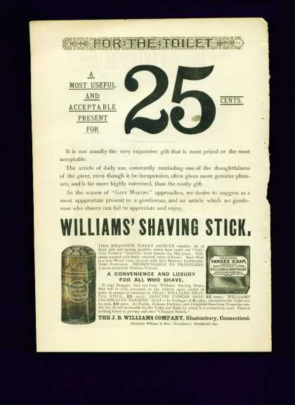 Williams' Shaving Stick & Yankee Soap Ad Rare (1887)