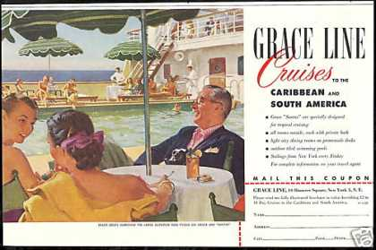 Grace Line Santa Cruise Ship Art (1952)