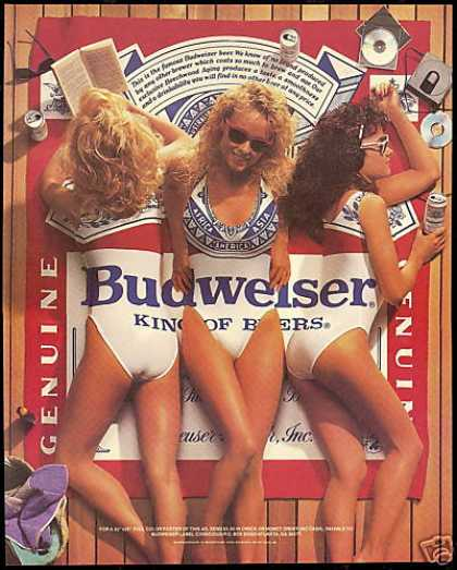3 Pretty Women Swimsuit Budweiser Beer (1988)