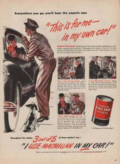 Macmillan Ring Free Car Motor Oil (1946)