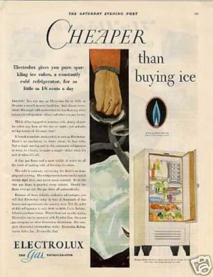 "Electrolux Refrigerator Ad ""Cheaper Than Ice... (1930)"