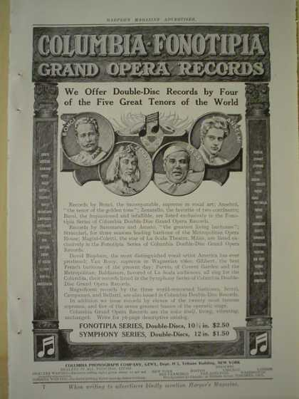 Columbia Fonotipia Grand Opera Records AND The Edison Phonograph (1909)