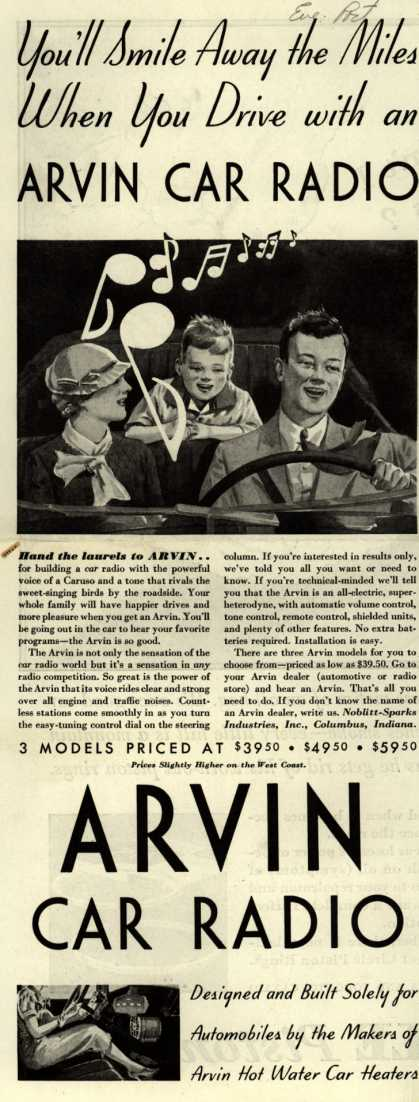 Arvin Radio's car radio – You'll Smile Away the Miles When you Drive with an ARVIN CAR RADIO (1933)