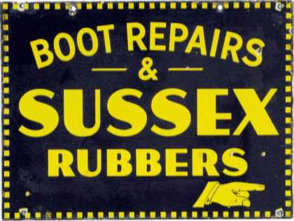 Sussex Rubber heels Boots Sign