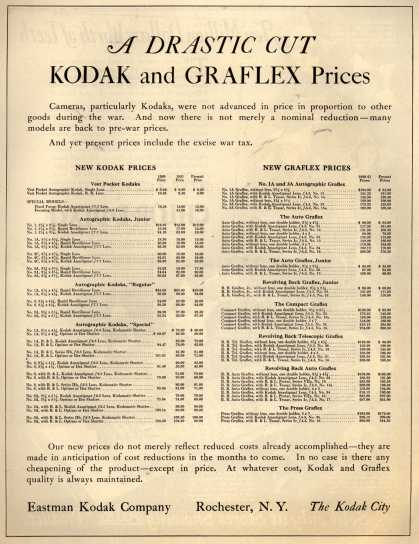 Kodak – A DRASTIC CUT KODAK and GRAFLEX Prices (1922)