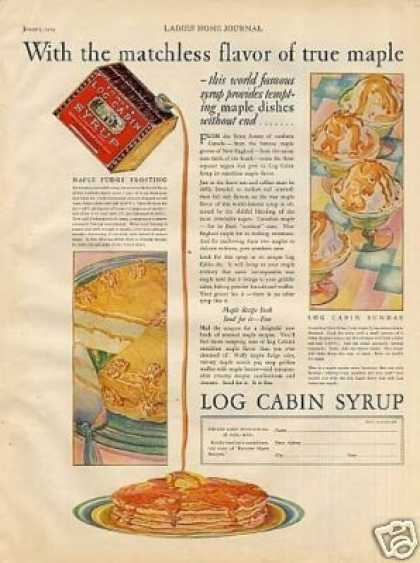 "Log Cabin Syrup Color Ad ""With the Matchless... (1929)"