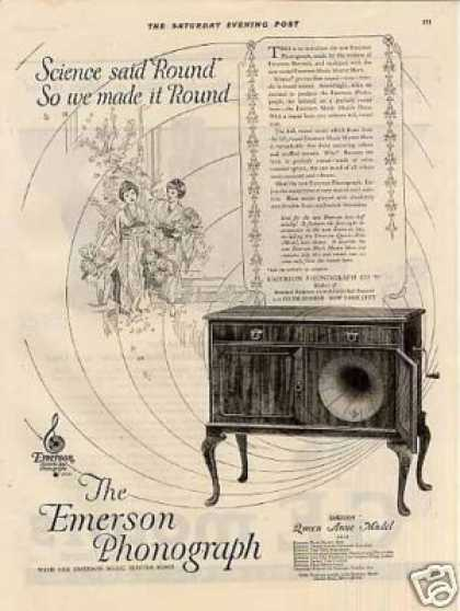 Emerson Phonograph Ad Queen Anne Model (1920)