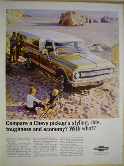 Chevy pickup trucks. Compare toughness and econonmy (1969)