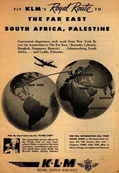 KLM Royal Dutch Airline's various destinations – Fly KLM's Royal Route to the Far East, South Africa, Palestine (1947)
