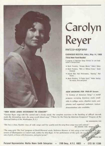 Carolyn Reyer Photo Mezzo-soprano Booking (1967)