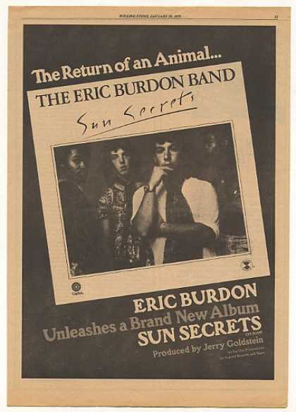 The Eric Burdon Band Sun Secrets Album (1975)