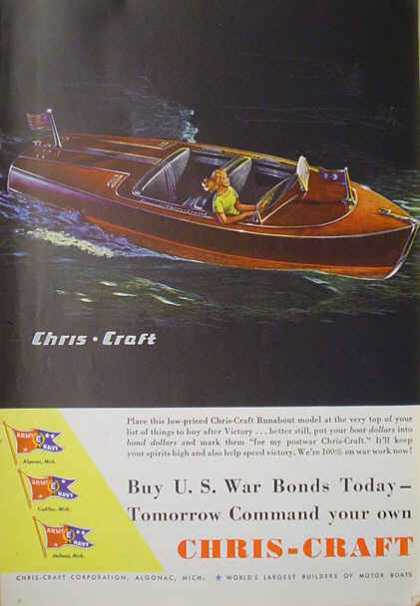 Chris Craft Boats Runabout Buy war bonds today (1941)