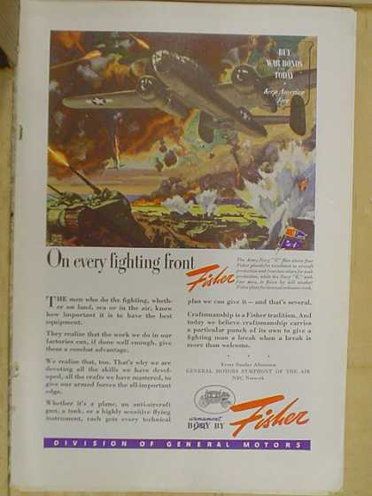 Fisher Auto Body. On every fighting front. Buy war bonds (1941)