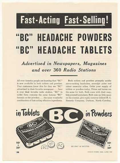 BC Headache Tablets Powders (1948)