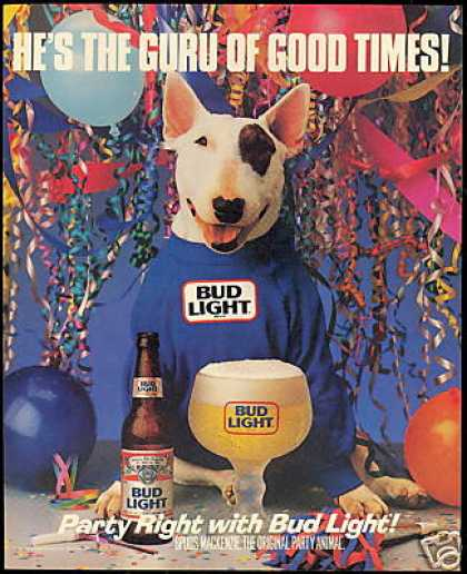 Spuds Mackenzie Budweiser Bud Light Beer (1988)